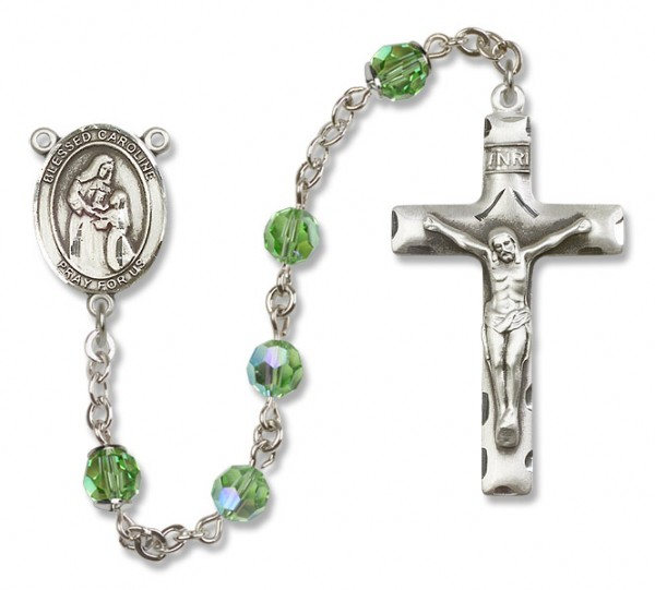 Blessed Caroline Gerhardinger Sterling Silver Heirloom Rosary Squared Crucifix - Peridot