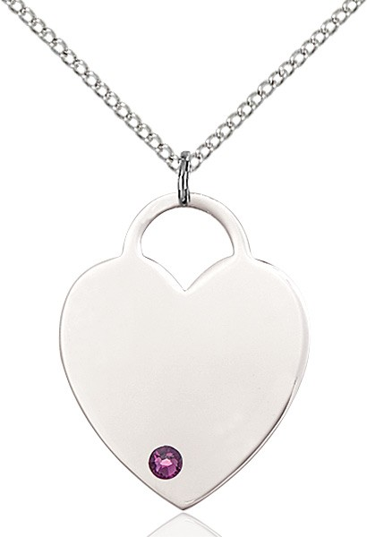 Large Women's Heart Pendant with Birthstone Options - Amethyst