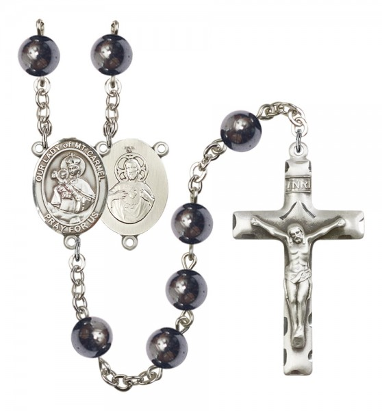Men's Our Lady of Mount Carmel Silver Plated Rosary - Silver