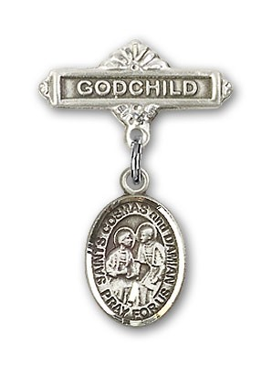 Baby Badge with Sts. Cosmas & Damian Charm and Godchild Badge Pin - Silver tone