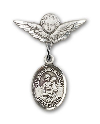 Pin Badge with Our Lady of Knock Charm and Angel with Smaller Wings Badge Pin - Silver tone
