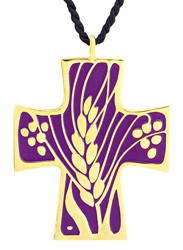 Vine and Grapes Cross Pendant / Eucharistic Minister Pendant - Purple
