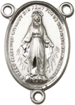 Simple Miraculous Medal Rosary Centerpiece - Sterling Silver