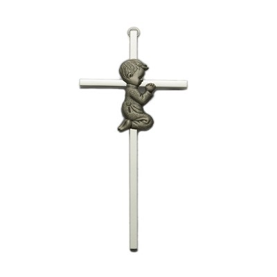 "Praying Boy Silver Plated Baby Cross - 6""H - Silver"