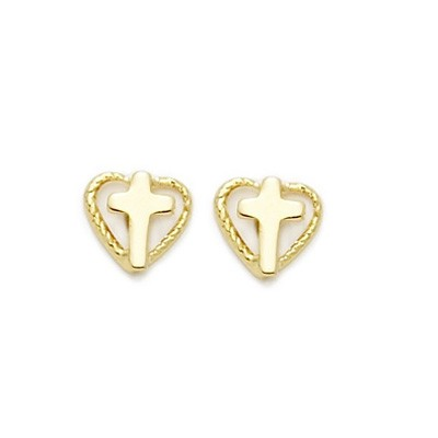 Heart Shaped Earrings - Gold