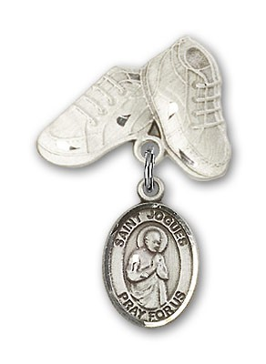 Pin Badge with St. Isaac Jogues Charm and Baby Boots Pin - Silver tone