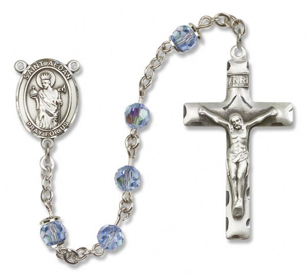 St. Aedan of Ferns Rosary Our Lady of Mercy Sterling Silver Heirloom Rosary Squared Crucifix - Light Sapphire