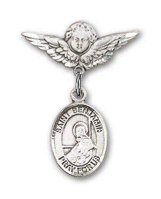 Pin Badge with St. Benjamin Charm and Angel with Smaller Wings Badge Pin - Silver tone
