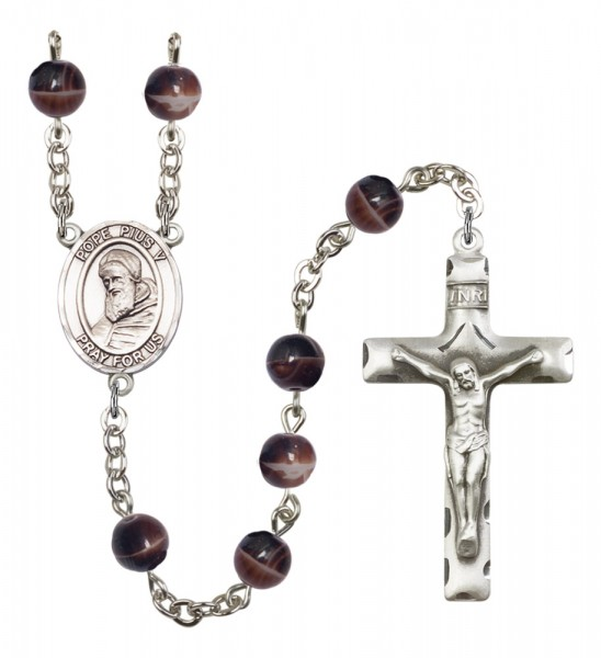 Men's St. Pius X Silver Plated Rosary - Brown