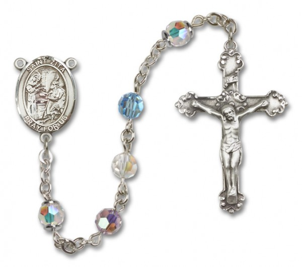 St. Zita Rosary Heirloom Fancy Crucifix - Multi-Color