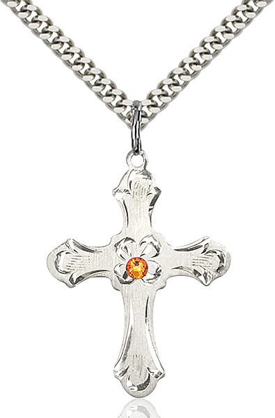 Budded Cross Pendant with Etched Border Birthstone Options - Topaz
