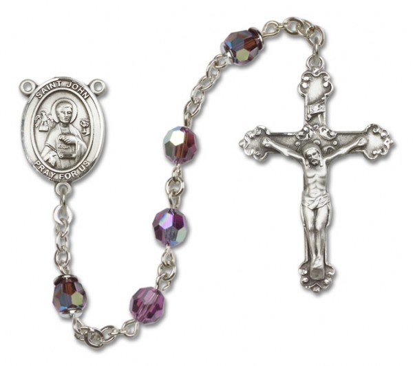 St. John the Apostle Rosary Heirloom Fancy Crucifix - Amethyst