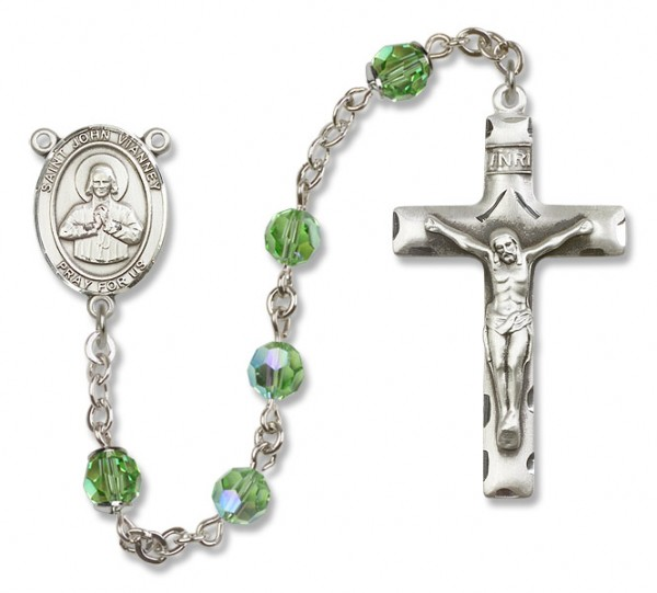 St. John Vianney Sterling Silver Heirloom Rosary Squared Crucifix - Peridot