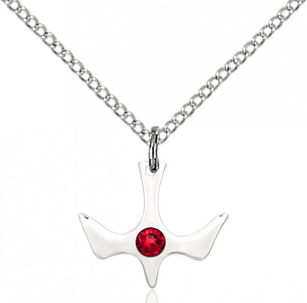 Holy Spirit Pendant with Birthstone Options - Ruby Red