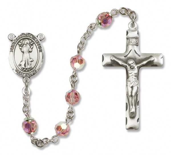 St. Francis of Assisi Sterling Silver Heirloom Rosary Squared Crucifix - Light Rose