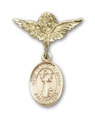 Pin Badge with St. Francis of Assisi Charm and Angel with Smaller Wings Badge Pin - Gold Tone