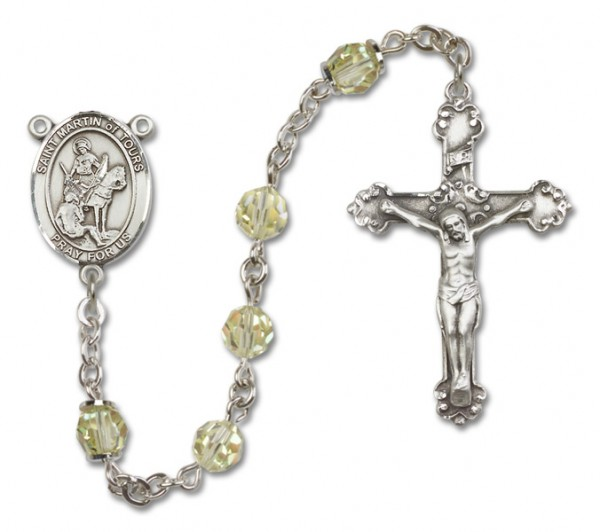St. Martin of Tours Sterling Silver Heirloom Rosary Fancy Crucifix - Jonquil