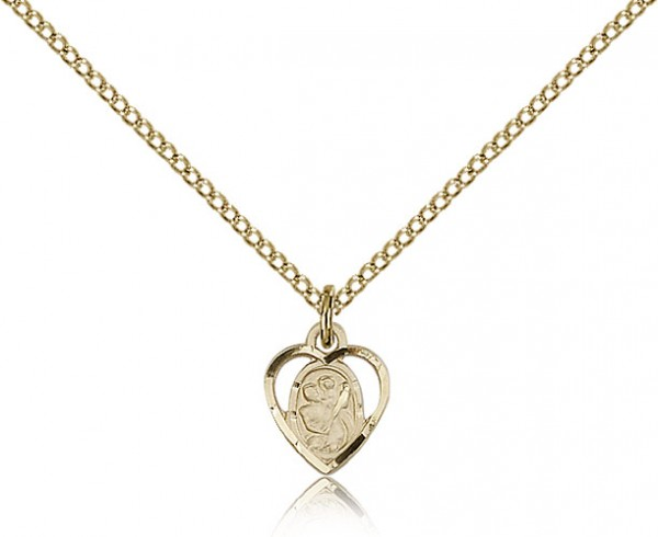 Very Small Open-Cut Heart Shaped St. Christopher Necklace - 14KT Gold Filled