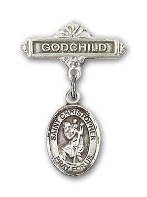 Pin Badge with St. Christopher Charm and Godchild Badge Pin - Silver tone