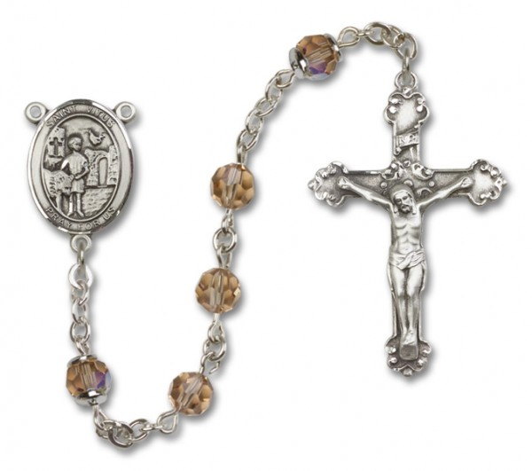 St. Vitus Rosary Heirloom Fancy Crucifix - Topaz