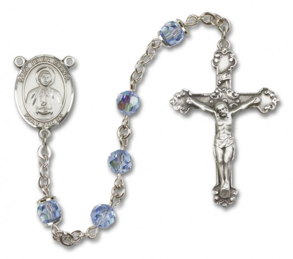 St. Peter Chanel Sterling Silver Heirloom Rosary Fancy Crucifix - Light Sapphire