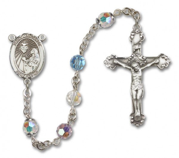 St. Margaret Mary Alacoque Sterling Silver Heirloom Rosary Fancy Crucifix - Multi-Color