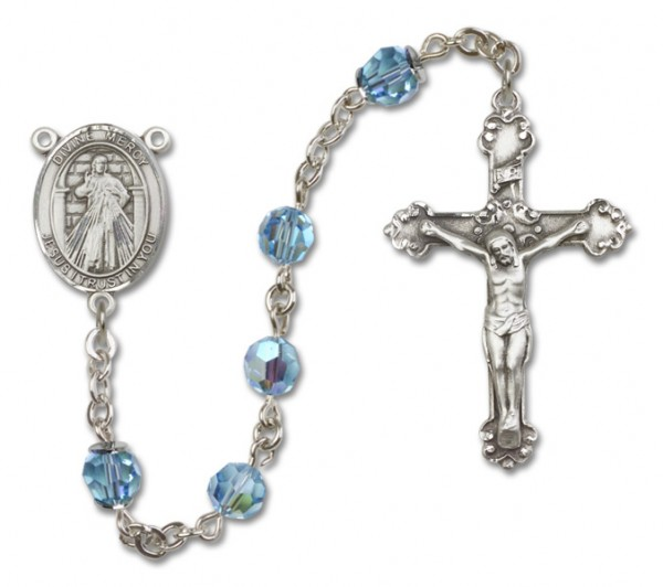 Divine Mercy Sterling Silver Heirloom Rosary Fancy Crucifix - Aqua
