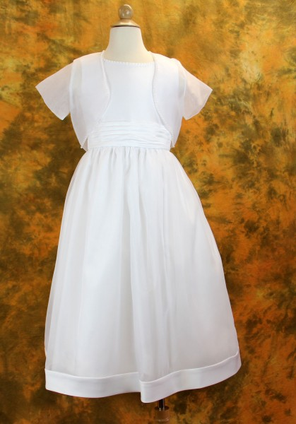 Plus Size First Communion Dress with Jacket - Satin and Organza with Pearl Trim Neckline - White