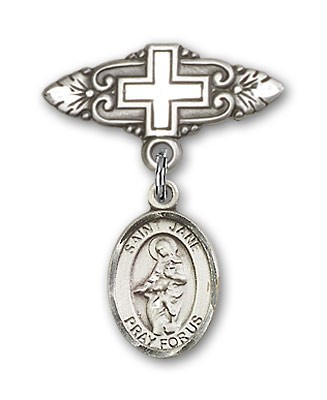 Pin Badge with St. Jane of Valois Charm and Badge Pin with Cross - Silver tone
