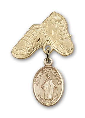 Baby Badge with Our Lady of Africa Charm and Baby Boots Pin - Gold Tone