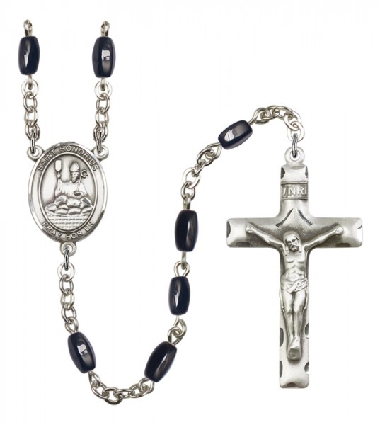 Men's St. Honorius of Amiens Silver Plated Rosary - Black | Silver