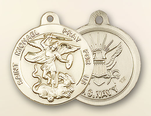 St. Michael the Archangel Navy Medal - 14K Solid Gold
