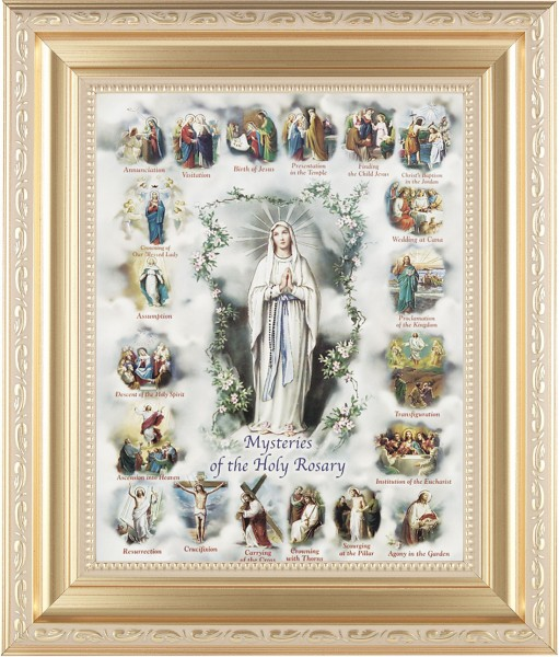 Mysteries of the Holy Rosary Illustrated Framed Print - #138 Frame