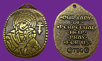 Our Lady of Perpetual Help Pendant - Bronze