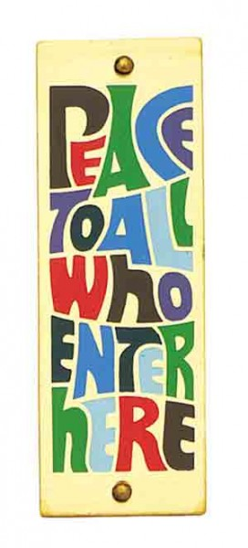 Peace To All Who Enter Here Wall Plaque - Small - 3 inches - Multi-Color