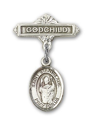 Pin Badge with St. Stanislaus Charm and Godchild Badge Pin - Silver tone
