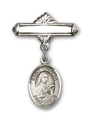 Pin Badge with St. Theresa Charm and Polished Engravable Badge Pin - Silver tone