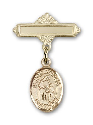 Pin Badge with Blessed Caroline Gerhardinger Charm and Polished Engravable Badge Pin - 14K Solid Gold