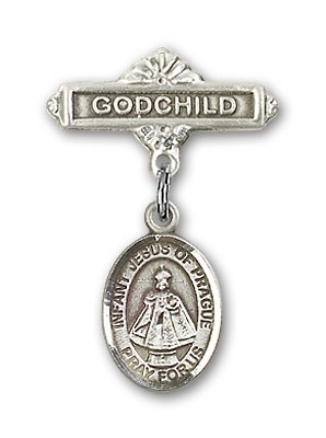 Baby Badge with Infant of Prague Charm and Godchild Badge Pin - Silver tone