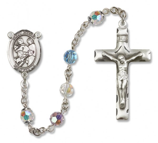 St. Cecilia with Marching Band Sterling Silver Heirloom Rosary Squared Crucifix - Multi-Color