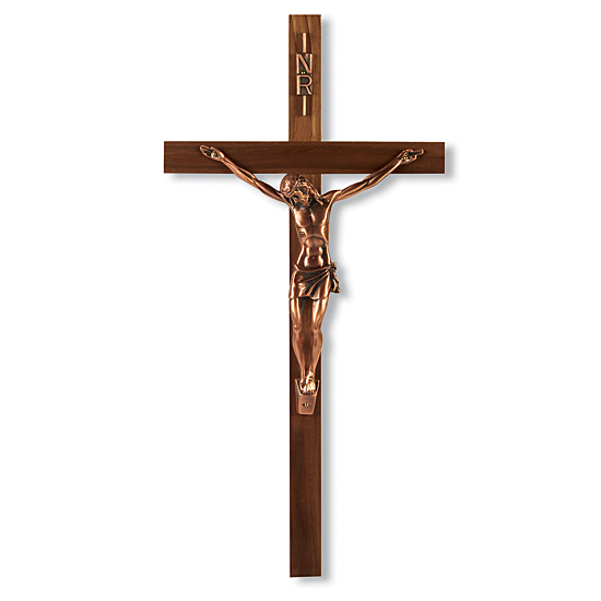 Narrow Walnut Wall Crucifix with Antique Copper Corpus  - 13 inch - Brown