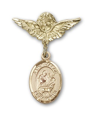 Pin Badge with St. Jason Charm and Angel with Smaller Wings Badge Pin - 14K Solid Gold