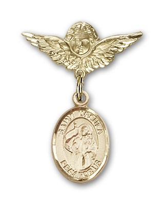 Pin Badge with St. Ursula Charm and Angel with Smaller Wings Badge Pin - 14K Solid Gold