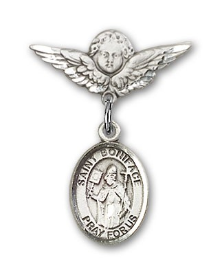 Pin Badge with St. Boniface Charm and Angel with Smaller Wings Badge Pin - Silver tone