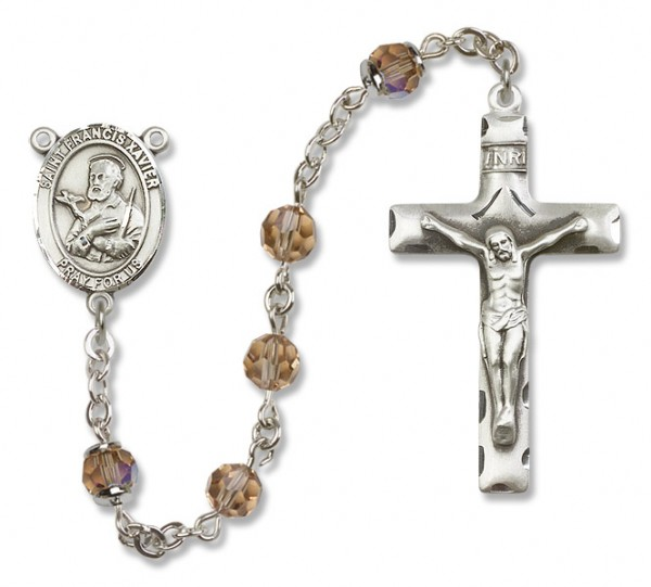 St. Francis Xavier Sterling Silver Heirloom Rosary Squared Crucifix - Topaz