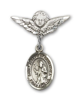 Pin Badge with St. Joseph of Arimathea Charm and Angel with Smaller Wings Badge Pin - Silver tone