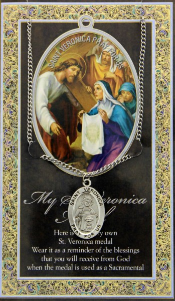 St. Veronica Medal in Pewter with Bi-Fold Prayer Card - Silver tone