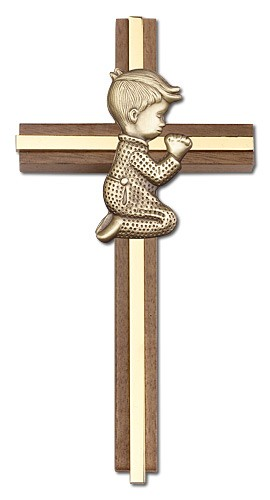 "Praying Boy Cross in Walnut 6"" with Metal Inlay - Gold Tone"