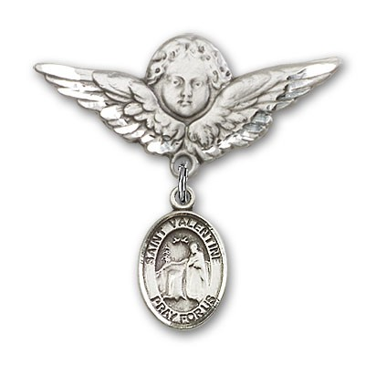 Pin Badge with St. Valentine of Rome Charm and Angel with Larger Wings Badge Pin - Silver tone