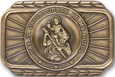 St. Christopher Visor Clip - Antique Gold
